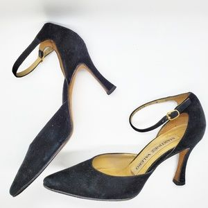 Martinez Valero Black Suede Pointed Toe Heels